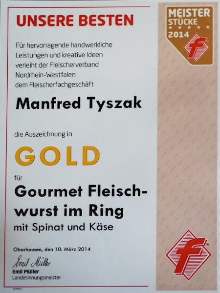 Urkunde-Gold-Fleischerei-Tyszak-Fleischwurst-Gourmet